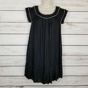 Anthro Floreat Silk Blend Ruffle Neckline Dress
